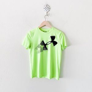 under armour neon yellow loose fit tee